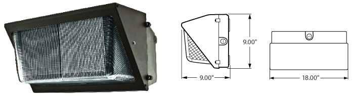 "LED - 18"" Wall Pack - Flood Type Fixtures - 21xxxFLD"