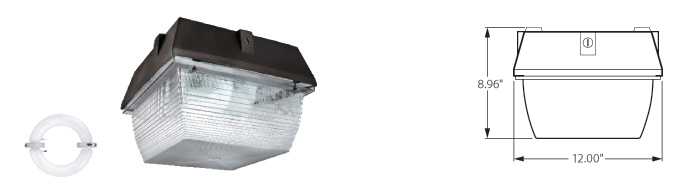 "Induction 12"" Square Garage Light Fixtures