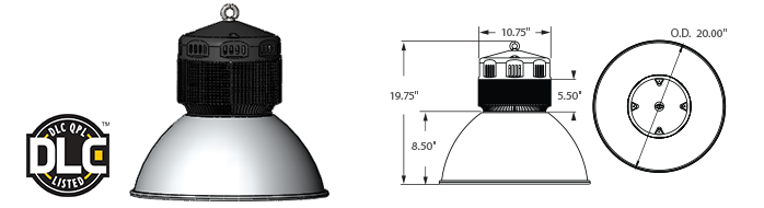 "LED - 20"" Aluminum Low / High Bay Fixture - 120W"