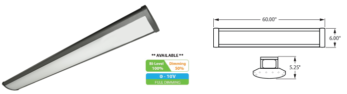 LED - 5' Linear High Bay Fixture - LED-1LH60 Series