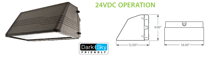 24VDC Solar Compatible LED Wall Pack Lighting