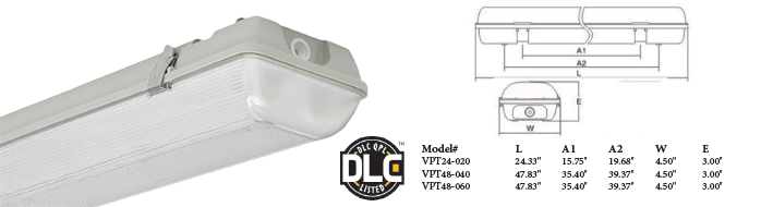 LED - Vapor Tight IP65 Fixtures - 2' / 4'  - LED-VPT Series