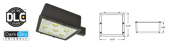 "LED - 16"" Parking / Area Light Fixture - 80W"
