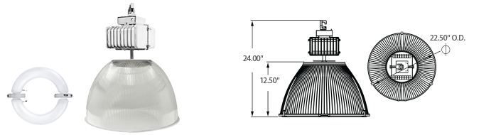 "Induction 22"" Polycarbonate High Bay Light Fixtures