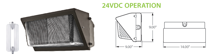 24VDC Solar Compatible Induction Wall Pack