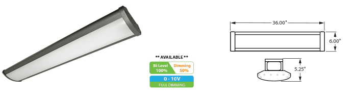 LED - 3' Linear High Bay Fixture - LED-1LH36 Series