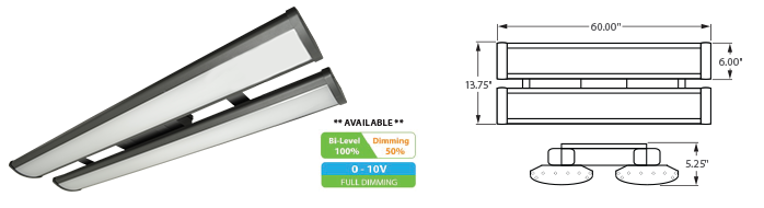 LED - 5' Linear High Bay Fixture - LED-2LH60 Series